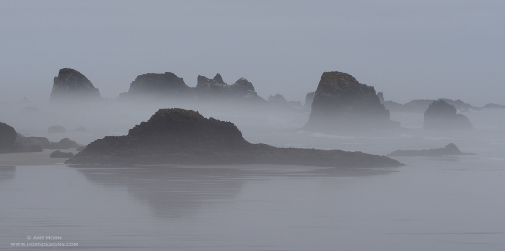 Stacks in the fog