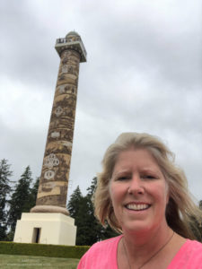 Astoria Column with clouds