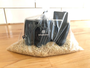 Camera in bag of rice